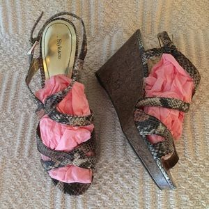 Style & Co. Wedge Ankle Strap Snake Print Shoes